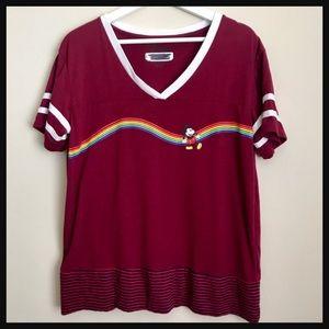 DISNEY | Burgundy red Mickey Mouse rainbow t-shirt